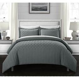 Chic Home Jas 3 Piece Comforter Set Embossed Quilted Vine