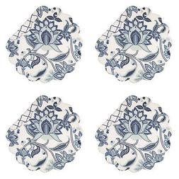 Julianna Blue 17 x 17 Inch Cotton Round Quilted Placemat Set