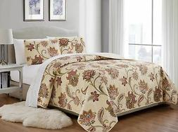 Mk Home 3pc King/California King Bedspread Quilted Print Flo