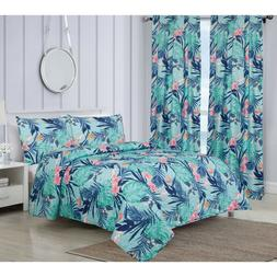 King or Full/Queen Tropical Monstera 3-Piece Quilt Bedding S