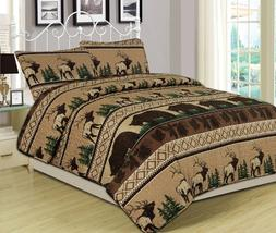 King, Queen, Twin Quilt Bed Set or Curtain Pair Bear Elk Log
