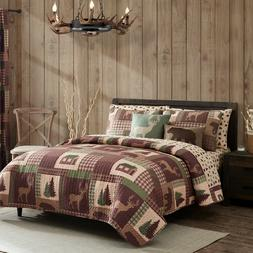 King, Queen, or Twin Quilt Set Rustic Cabin Lodge Deer Bear