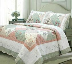 King Size Bedding Quilt Set Farmhouse Shabby Chic Country Co