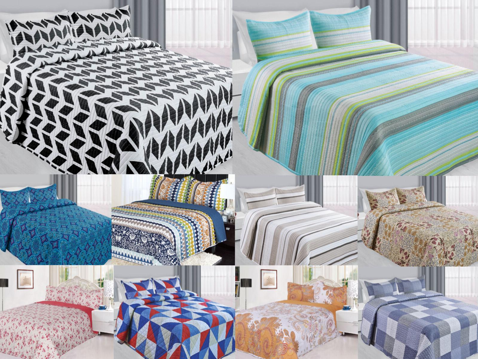 3 piece reversible quilted printed bedspread coverlet