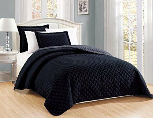 Fancy Linen 3pc Oversize Solid Black Diamond Quilted Bedspre