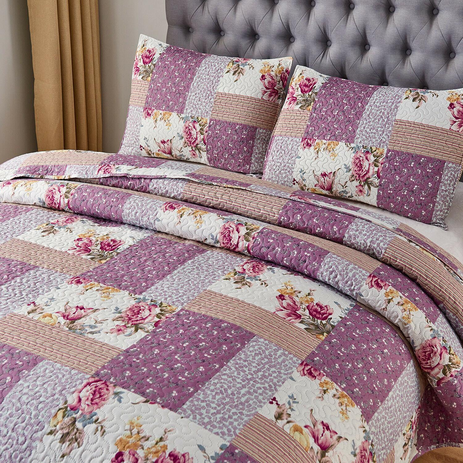 3pc Printed Reversible Bedspread/Quilt