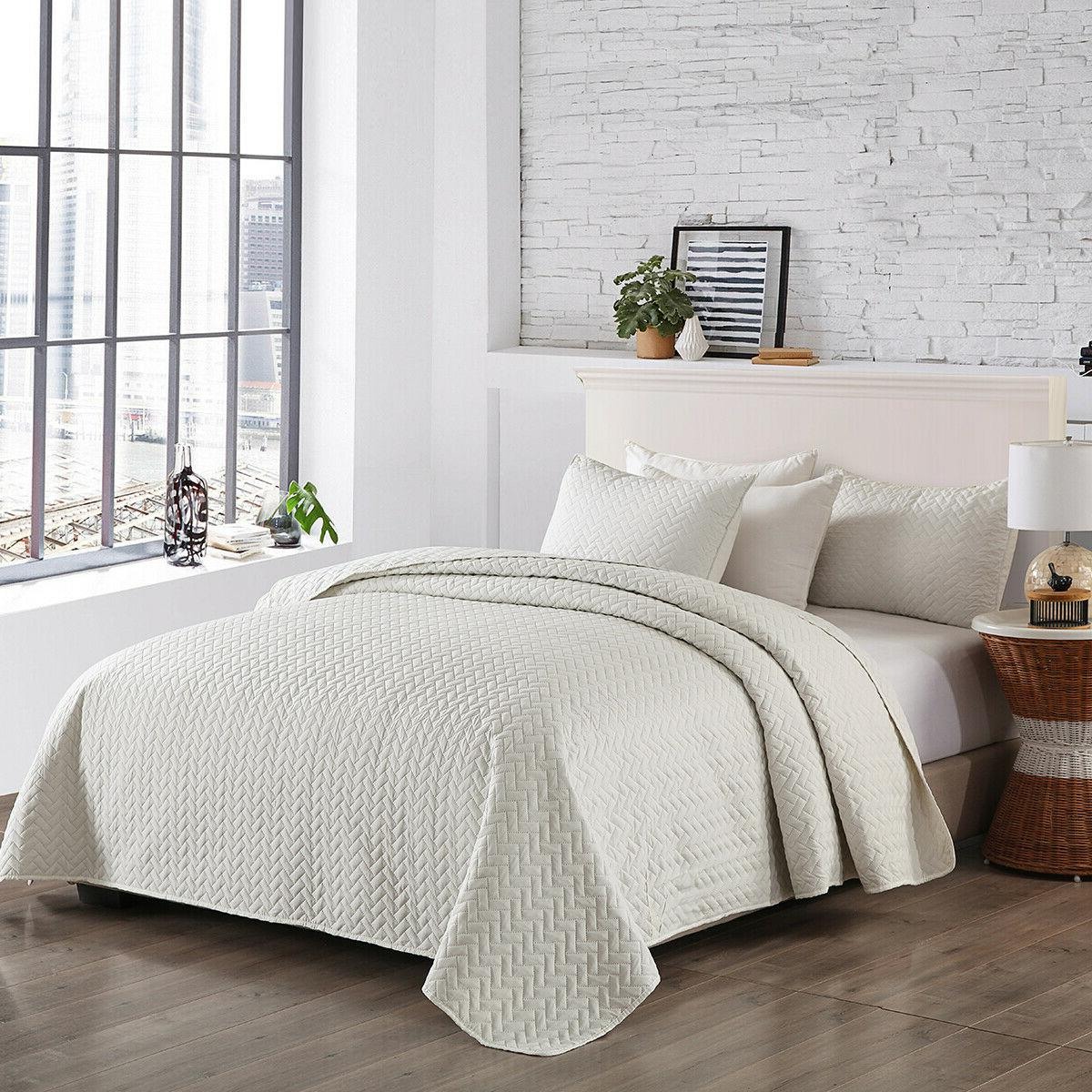 3-Piece Bedspread Coverlet Set Quilt Set Solid Color Queen/K