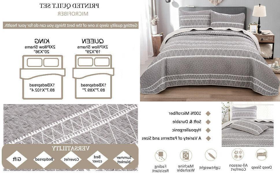 3Pieces Bedspread Coverlet Oversized Bed Cover Queen