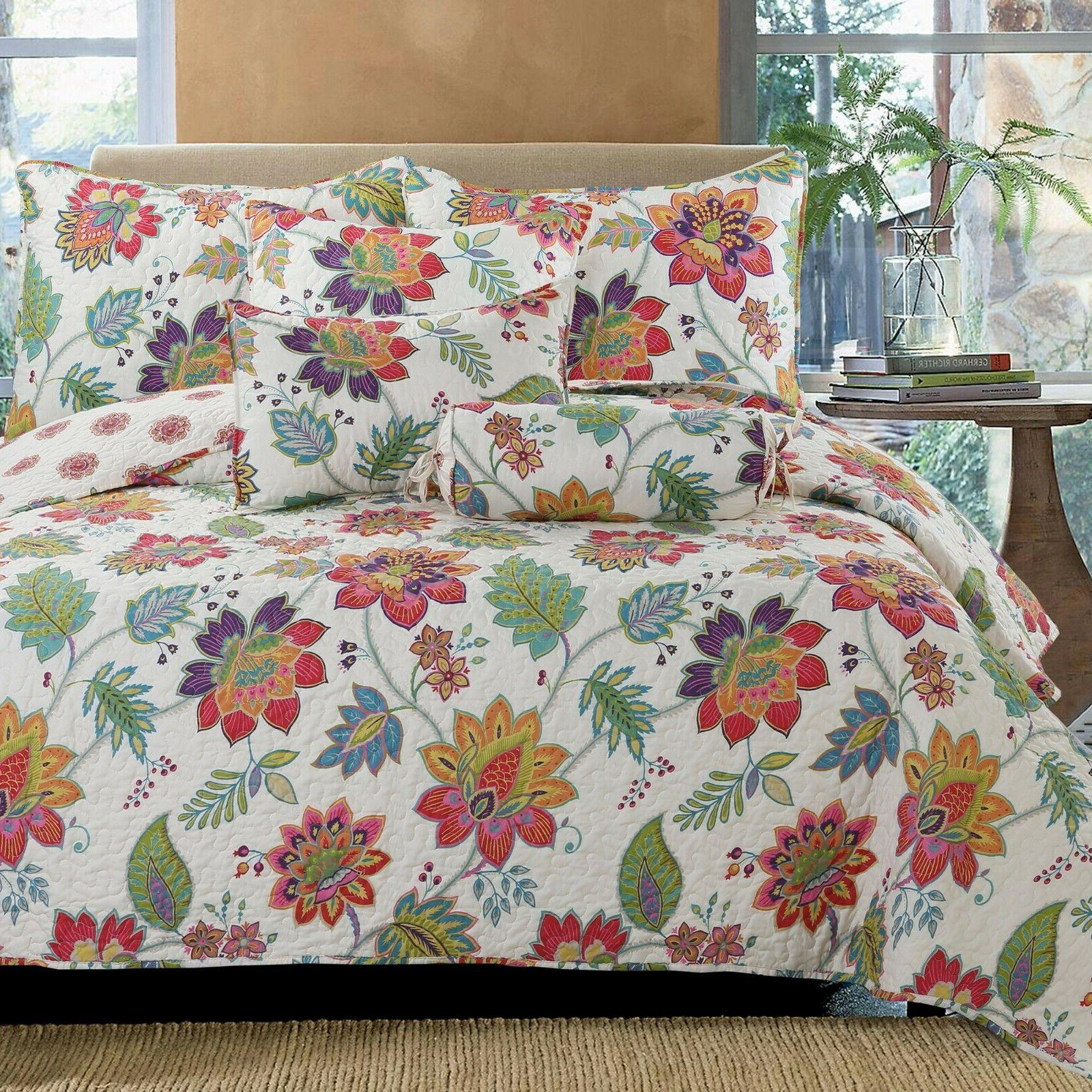 blooming floral 3 piece reversible bedding quilt