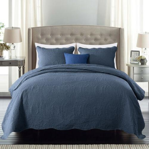 Embossed Bedspread Quilt Set Bed Cover Twin King