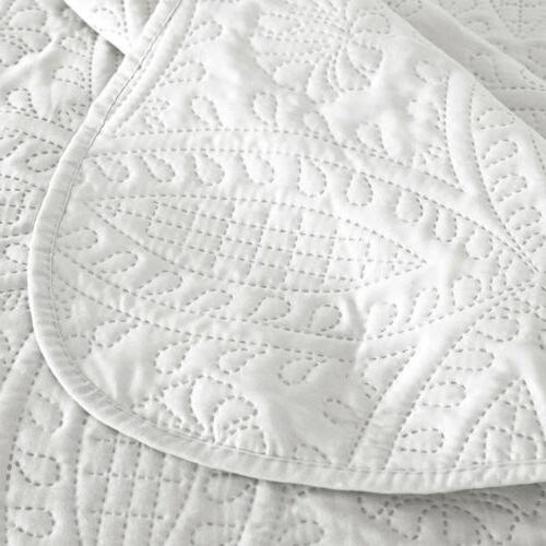 Embossed Quilted Bedspread Coverlet Quilt Pillow Shams Cover