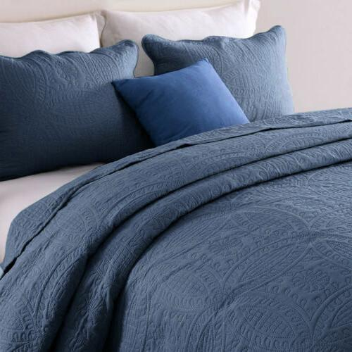 Embossed Quilted Quilt Set Shams Bedding