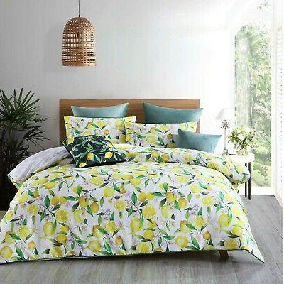 lemons quilt cover set white by features