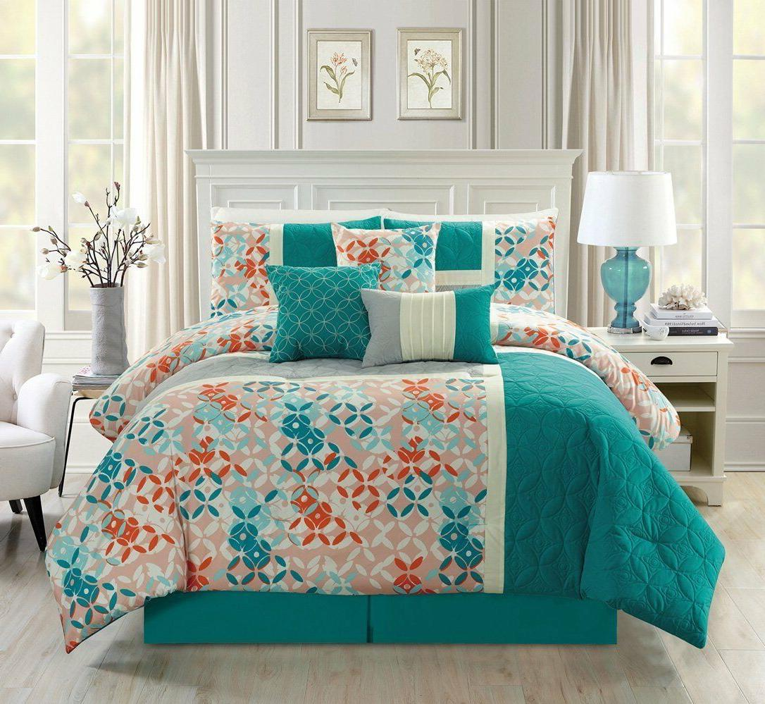 Luxury 7PC Turquoise Blue/Beige/Orange  Quilted Patch Work S