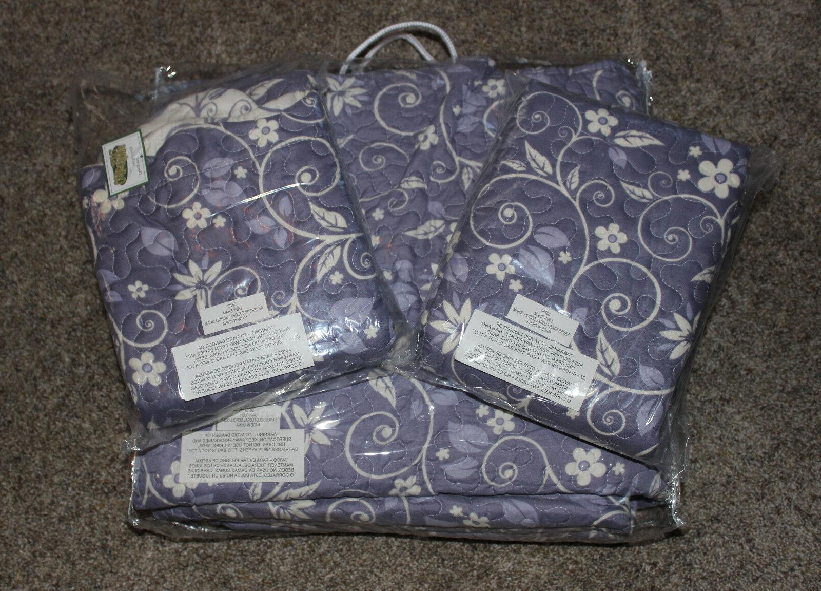 new 3 piece lavender and white reversible