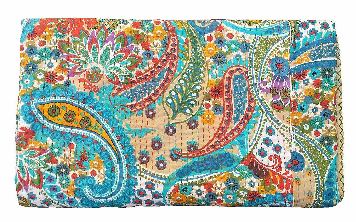 Paisley Print King Size Kantha Quilt , Blanket, Bed Cover,be