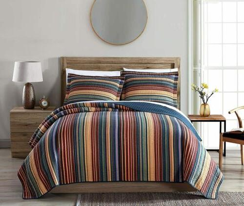 Chezmoi Collection Avery Quilt Set Pre-Washed 100% Cotton Mu