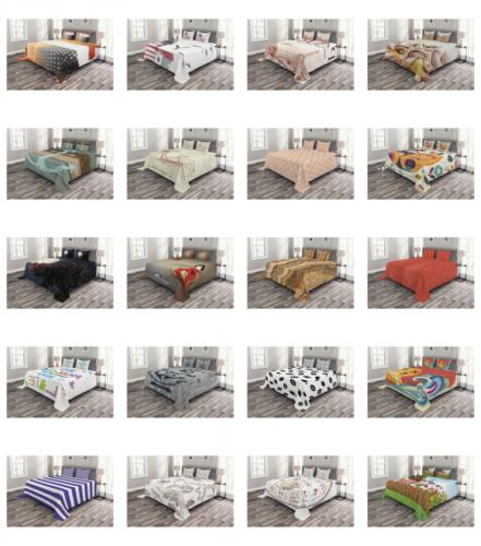 quilted bedspread set decorative printed coverlet by