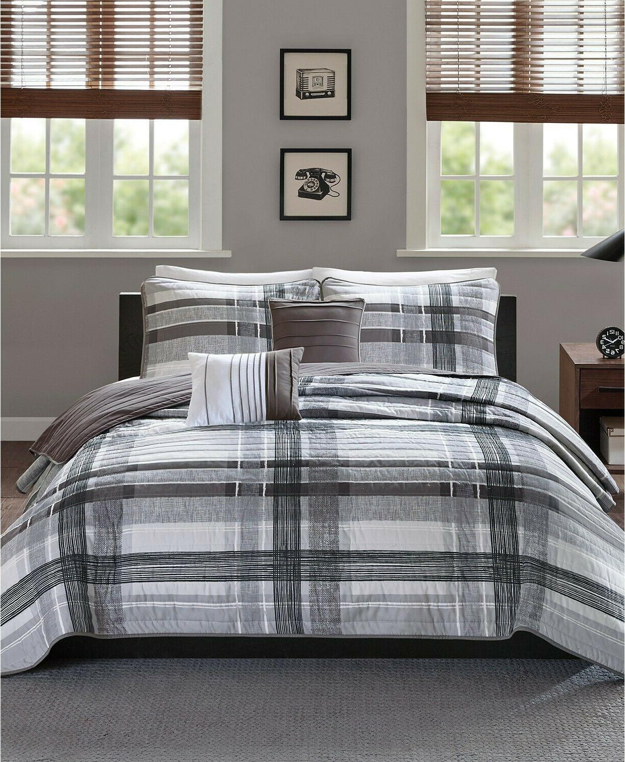 rudy reversible 5 pc plaid quilted coverlet