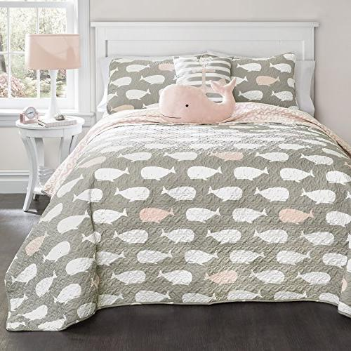 whale quilt pink set