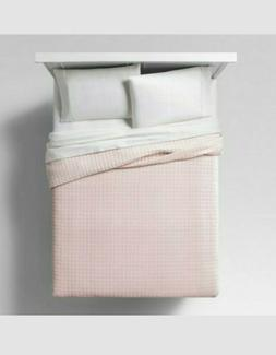 Project 62 Light Pink Blush Velvet Grid Quilt Full Queen New