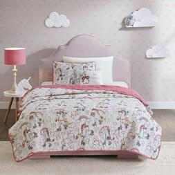 Lovely Fun Kids Rainbow Unicorn White Pink Quilt Coverlet Qu