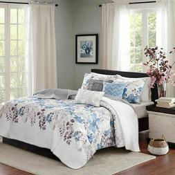 Madison Park Luna 6 Piece FULL/QUEEN Quilted Coverlet Set Bl