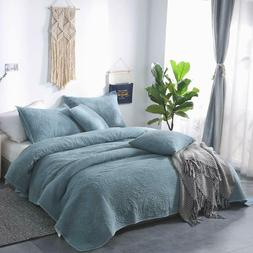 Luxury 100% Cotton Stone Washed Coverlet Soft Bedspread Comf