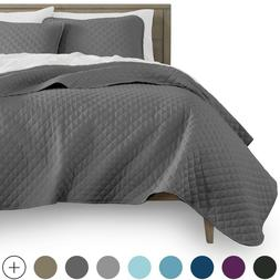 Luxury Diamond Stitch Quilted Coverlet Bedspread and Pillow