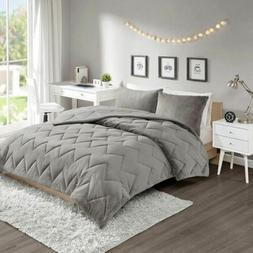 Luxury Solid Grey Reversible Chevron Quilted Comforter AND D