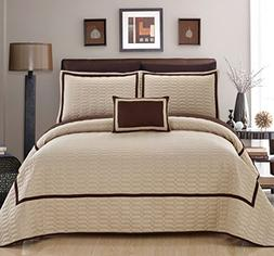Chic Home 8 Piece Mesa Hotel Collection 2 Tone Banded Quilte