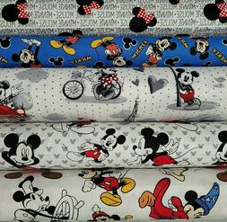 mickey mouse character cotton fabric by