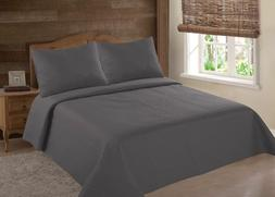 MIDWEST CHARCOAL NENA SOLID QUILT BEDDING BEDSPREAD COVERLET