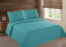 MIDWEST TURQUOISE NENA SOLID QUILT BEDDING BEDSPREAD COVERLE
