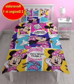 DISNEY MINNIE MOUSE SINGLE DUVET QUILT COVER SET GIRLS KIDS