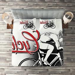 Modern Quilted Coverlet & Pillow Shams Set, Cycling Man Spor