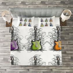 Music Quilted Bedspread & Pillow Shams Set, Guitar Collage f