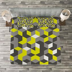 Mustard Yellow Quilted Bedspread & Pillow Shams Set, Modern