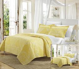 Chic Home 2 Piece Napoli Reversible Printed Quilt Set, Twin,