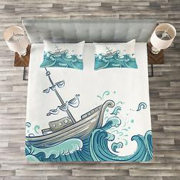 Nautical Quilted Bedspread & Pillow Shams Set, Ship and Ocea