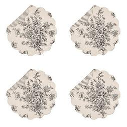 """Nelly Floral and Striped Onyx 17 x 17"""" Cotton Round Quilted"""