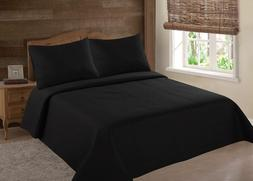 MIDWEST BLACK NENA SOLID QUILT BEDDING BEDSPREAD COVERLET PI