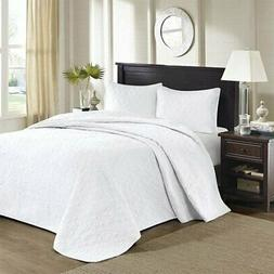 NEW Madison Park BEDSPREAD Set 3 Pc Shams White FULL Solid Q