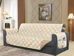 New ELEGANT COMFORT Beige-White Quilted Sofa Cover w/Smart P
