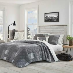 New,Eddie Bauer  Charcoal Grey 3-PC Cotton Quilt,Coverlet, S