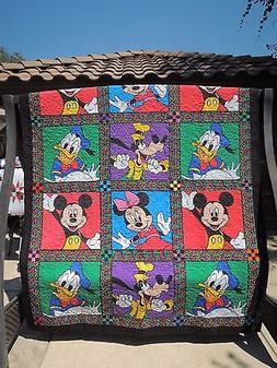 """New Disney Character Handmade Full / Double Size Quilt 68"""" X"""