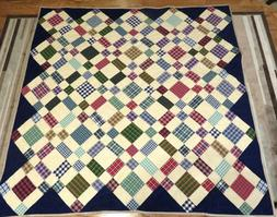 """New USA Hand Made Twin Size Quilt -Plaid Patchwork  70"""" x 70"""