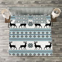 Nordic Quilted Bedspread & Pillow Shams Set, Zigzag Reindeer