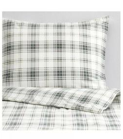 IKEA NORDRUTA Quilt cover & pillowcases White/blue Twin
