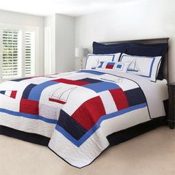 North Shore 100% Cotton Nautical Quilted Pillow Sham White+B